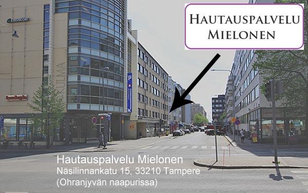 Hautaustoimisto Mielonen Tampereen keskustassa